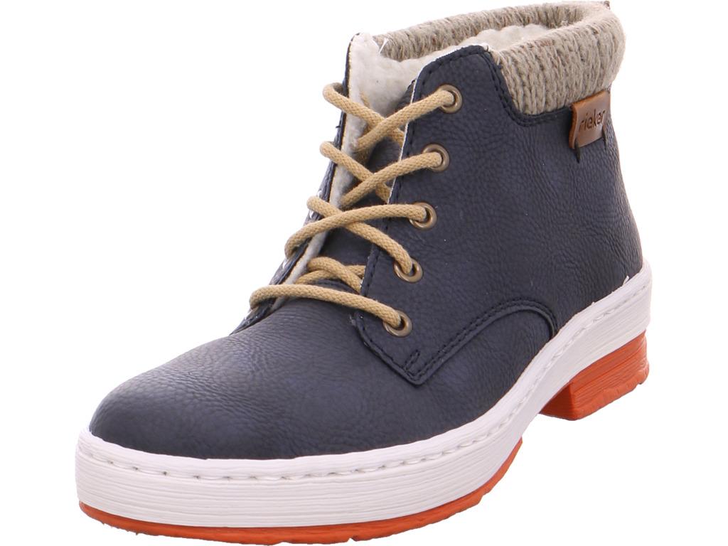 echte Qualität großhandel online Outlet zu verkaufen Details zu Rieker Damen Winter Stiefel Boots Stiefelette warm Schnürer blau